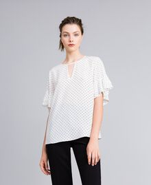 "Silk blouse with micro hearts ""Snow"" White / Black Heart Print Woman PA82N3-02"