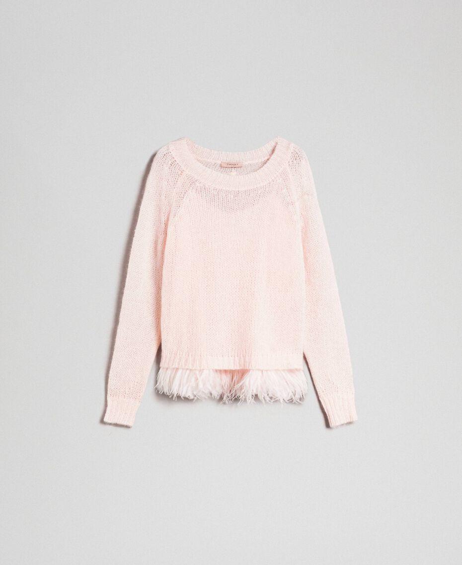Pull en mohair et top avec plumes Rose «Opale» Femme 192TT3275-0S