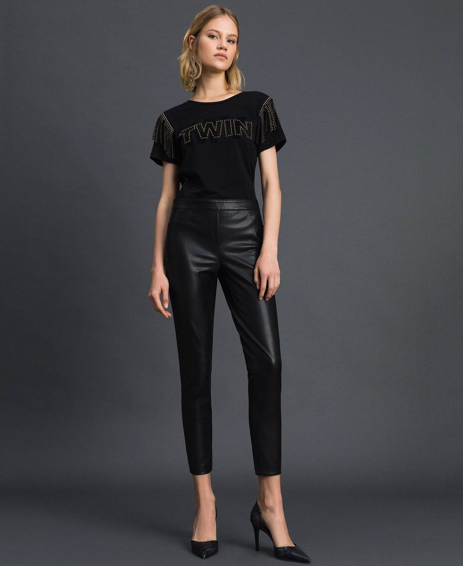 Faux leather leggings Black Woman 192MP2025-0T
