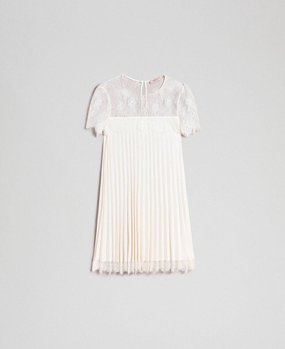Blusa in crêpe de Chine plissé e pizzo Bianco Neve Donna 192TT2490-0S