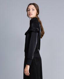 Sweatshirt aus technischem Stoff mit Rüschen Schwarz Frau IA85BB-03