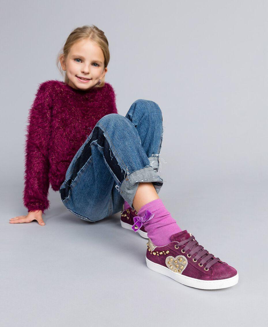 Baskets en cuir glacé Violet Raisin Doux Enfant HA88EN-0S
