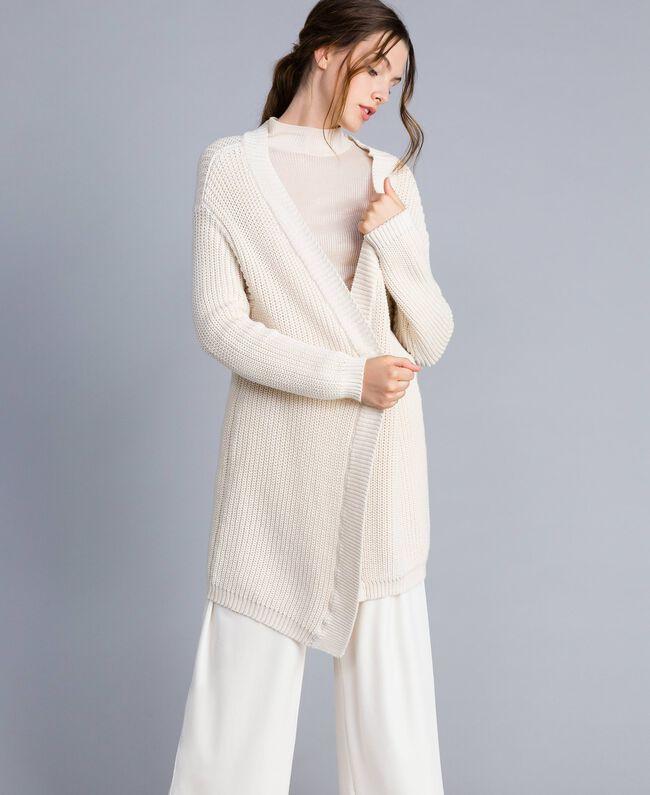 Maxi cotton and wool cardigan Blanc Woman IA87AA-01
