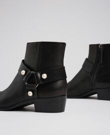 Leather booties with straps and pearls Black Woman 192TCP10E-03