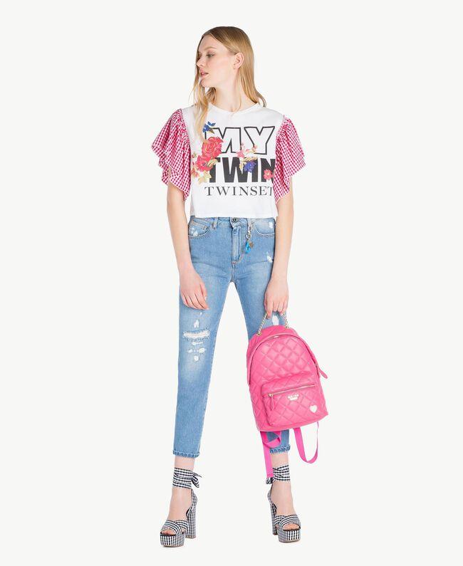 Jeans mit hoher Taille Denimblau Frau JS82WN-05