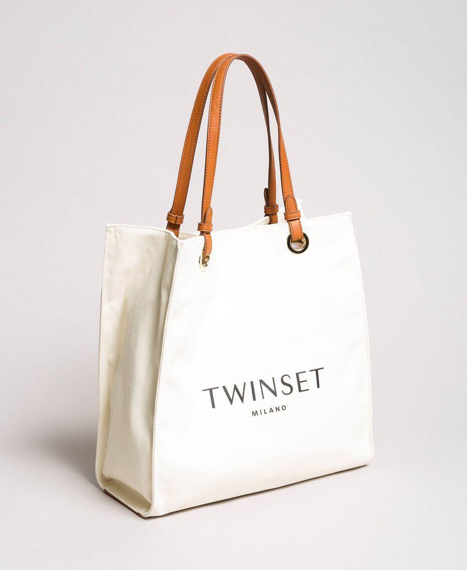 Mittelgroßer Shopper aus Canvas mit Logo Weiß Schnee Frau 191TA7610-02