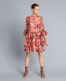 "Kleid aus Chiffon mit Blumenprint Print ""Rosa Tulpe"" Frau TA825R-01"