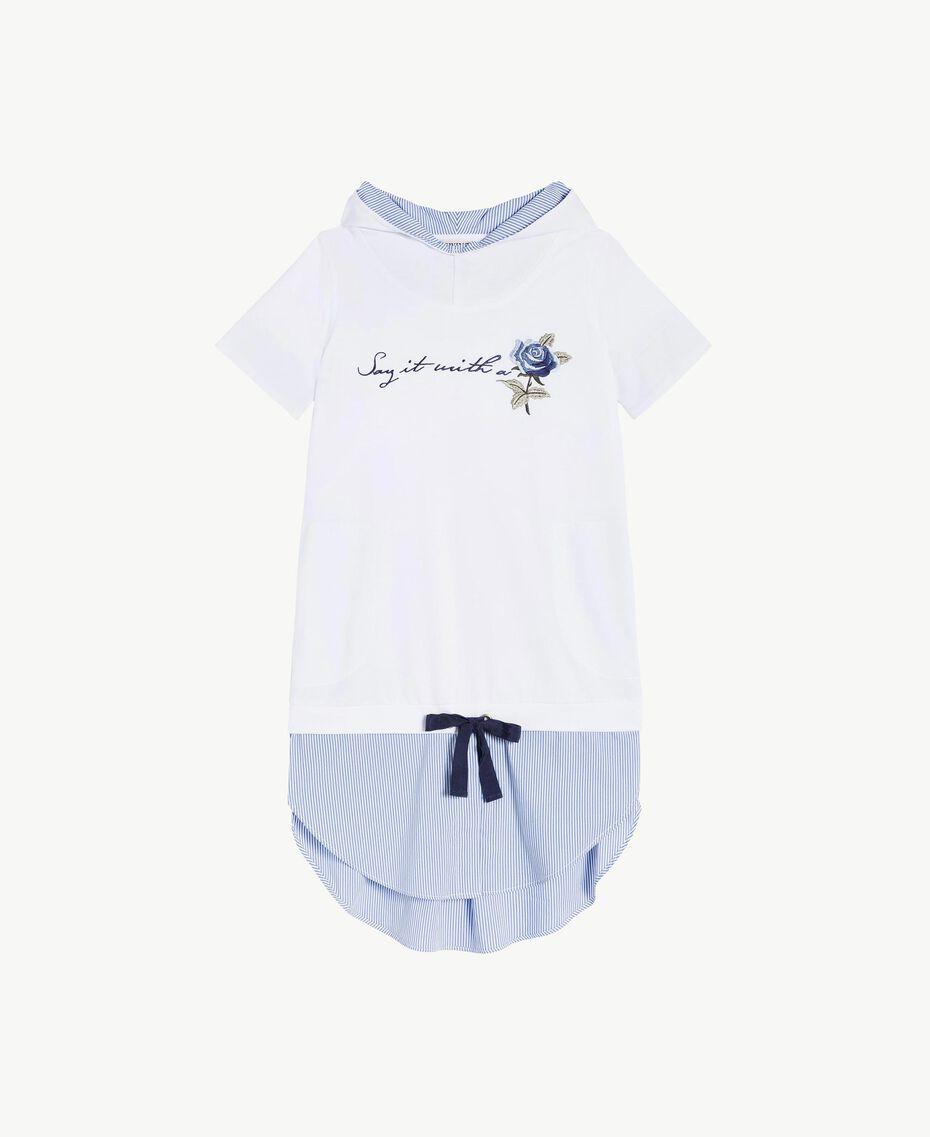 "Embroidered dress ""Papyrus"" White / Light Blue Jacquard Child GS82LN-01"