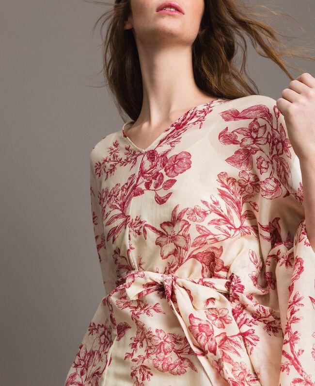 Kimonokleid aus Seidenmischung Motiv Toile De Jouy Rot Frau 191TT2406-04