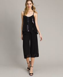 Top with striped sequins Black Woman 191LM2CAA-0T