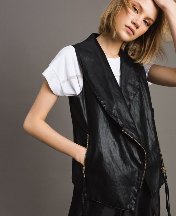 Faux leather zipped waistcoat