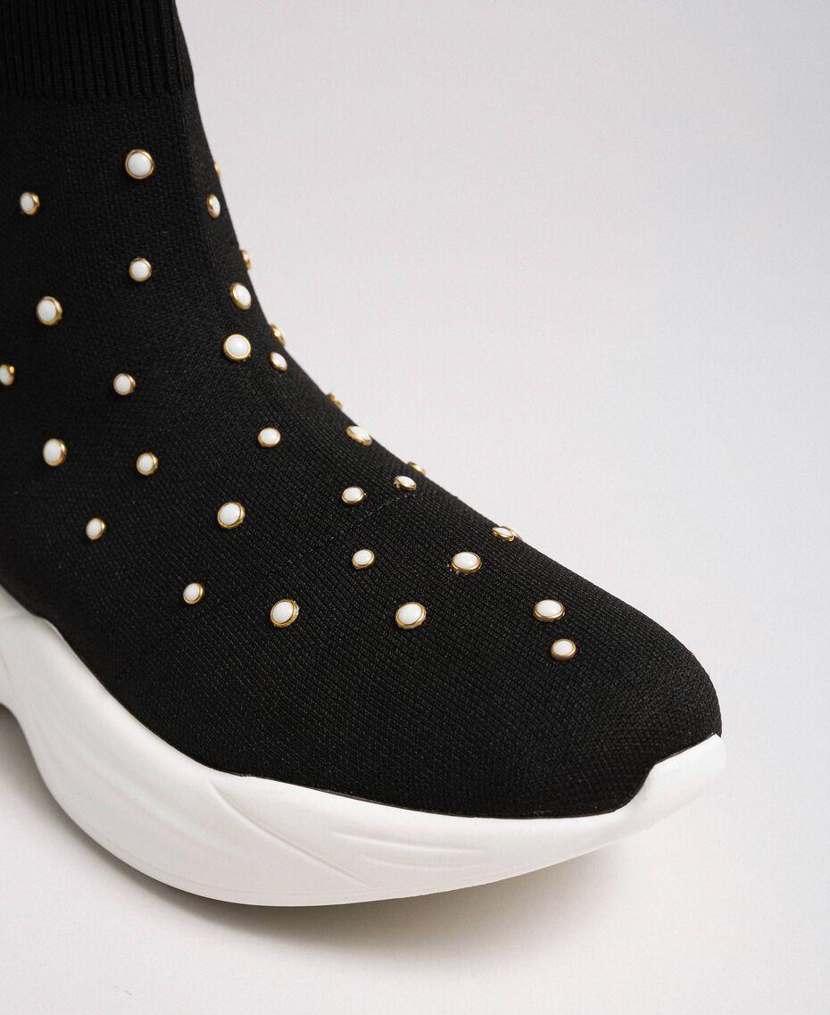 Chaussures de running en maille avec perles Noir Femme 192MCP06C-03