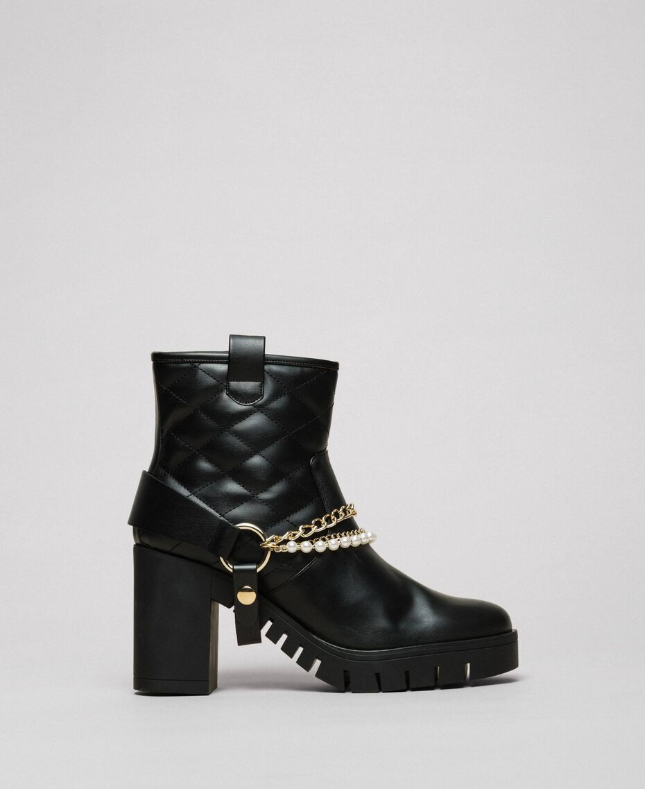 Biker boots with straps, chain and pearls Black Woman 192MCP050-01