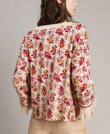 """Pull-cardigan floral avec plumes et strass Imprimé Bouquet Rose """"Bouton De Rose"""" Femme 191TP3415-06"""