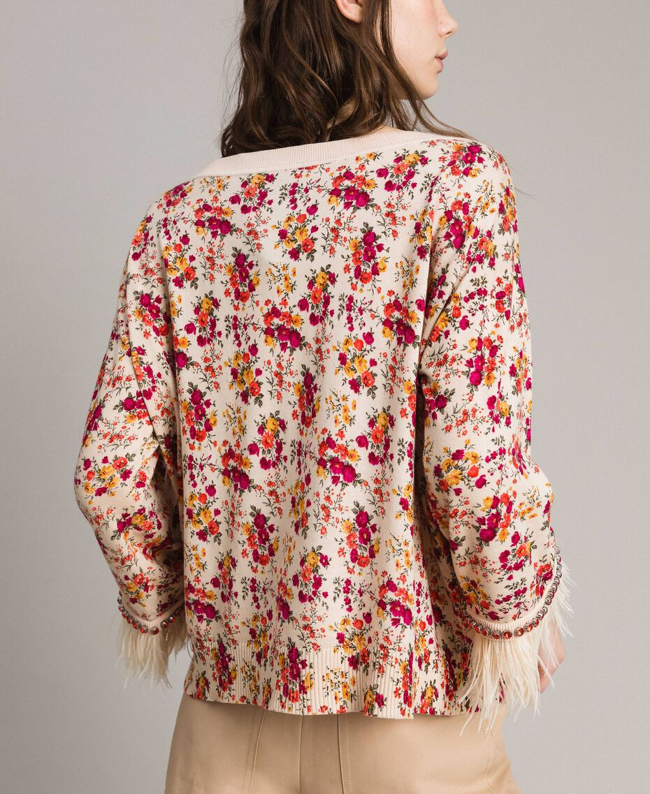 "Floral cardigan-top with feathers and rhinestones ""Blossom"" Pink Bouquet Print Woman 191TP3415-06"
