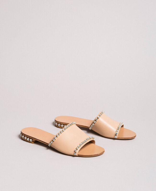 Leder-Sandalen mit Strasssteinen Schwarz Frau 191TCT094-01