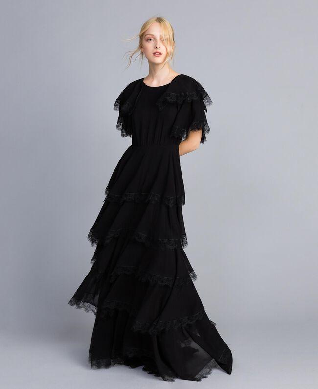 Robe longue en crêpe georgette volanté Noir Femme TA828E-03