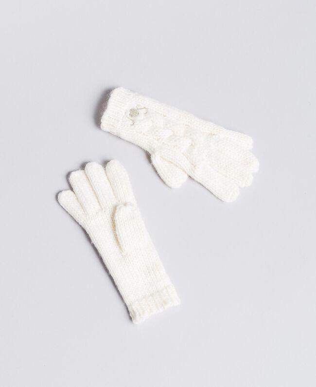 Strickhandschuhe mit Zopfmuster Mattweiß Kind GA8GA1-01