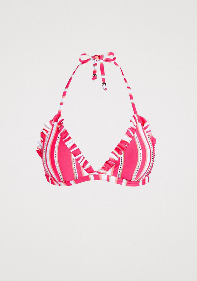 Padded striped triangle bikini top