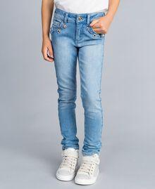 Jeans skinny con pietre e strass Denim Chiaro Bambina GA82VN-04