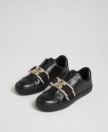Baskets en cuir avec bande brodée Noir Femme 192TCP06Q-01