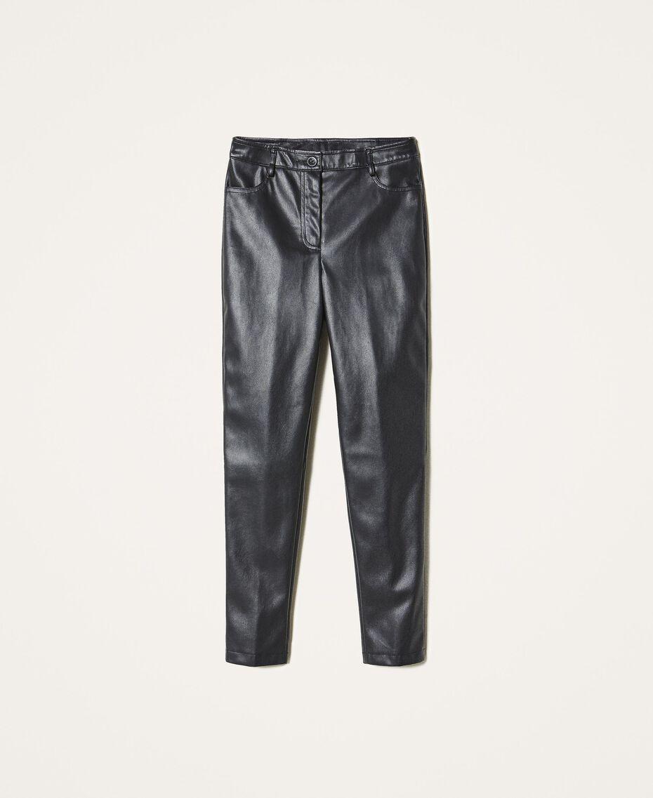Pantalón pitillo de piel sintética Negro Mujer 202MP2081-0S