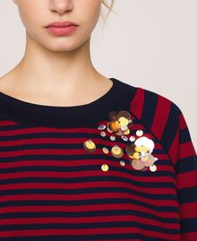 Striped sweatshirt with sequin embroidery Crimson Red/ Midnight Blue Stripes Woman 201ST2190-04