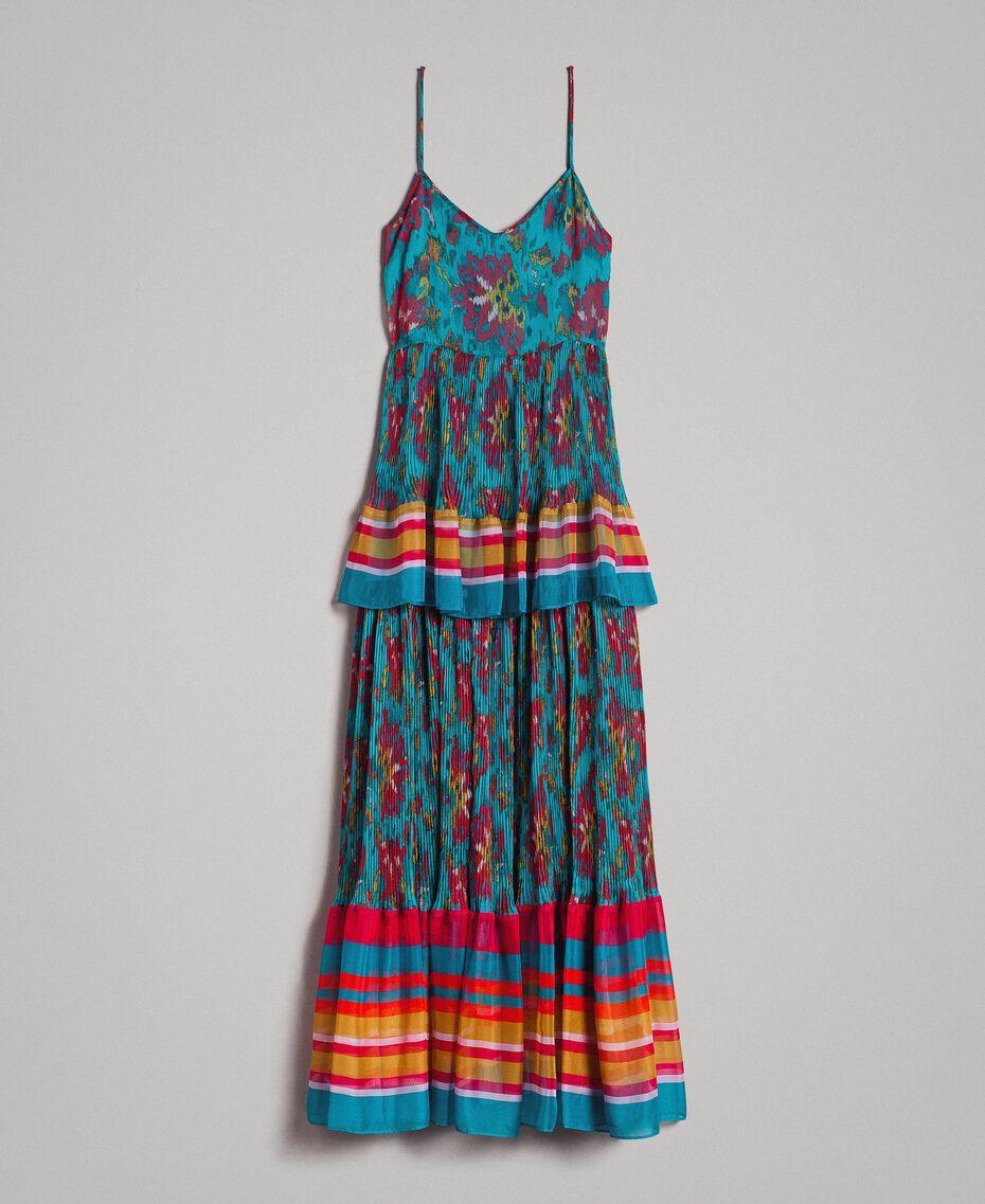 Robe longue en chiffon à imprimé motif floral Multicolore Chiné / Rayures Bleu Céramique Femme 191TT2361-0S
