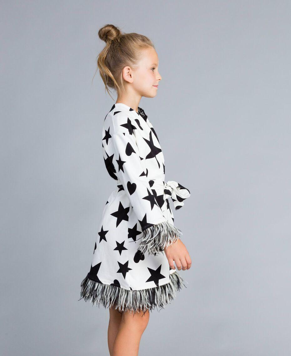 Robe de chambre en molleton imprimé Imprimé Étoiles Noir / Blanc Cassé Enfant GA828B-02