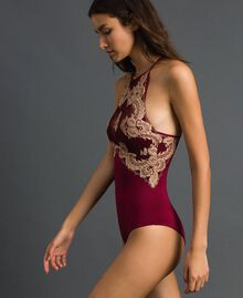 Body con copa push-up y encaje bicolor Purple Red / Warm Beige Mujer 192LL6D00-02