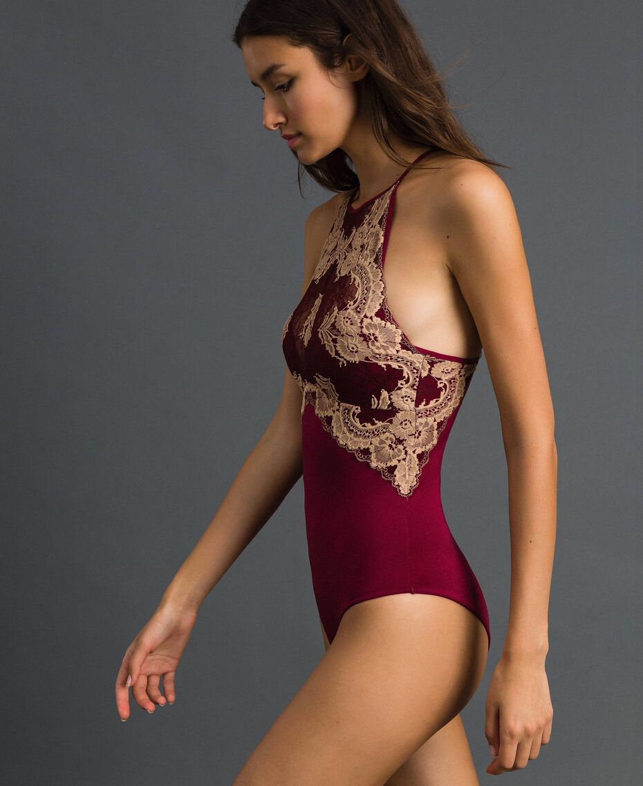 Push up cup bodysuit with two-tone lace Purple Red / Warm Beige Woman 192LL6D00-02