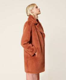 """Single breasted coat with pockets """"Tan Powder"""" Brown Woman 212TP2230-03"""