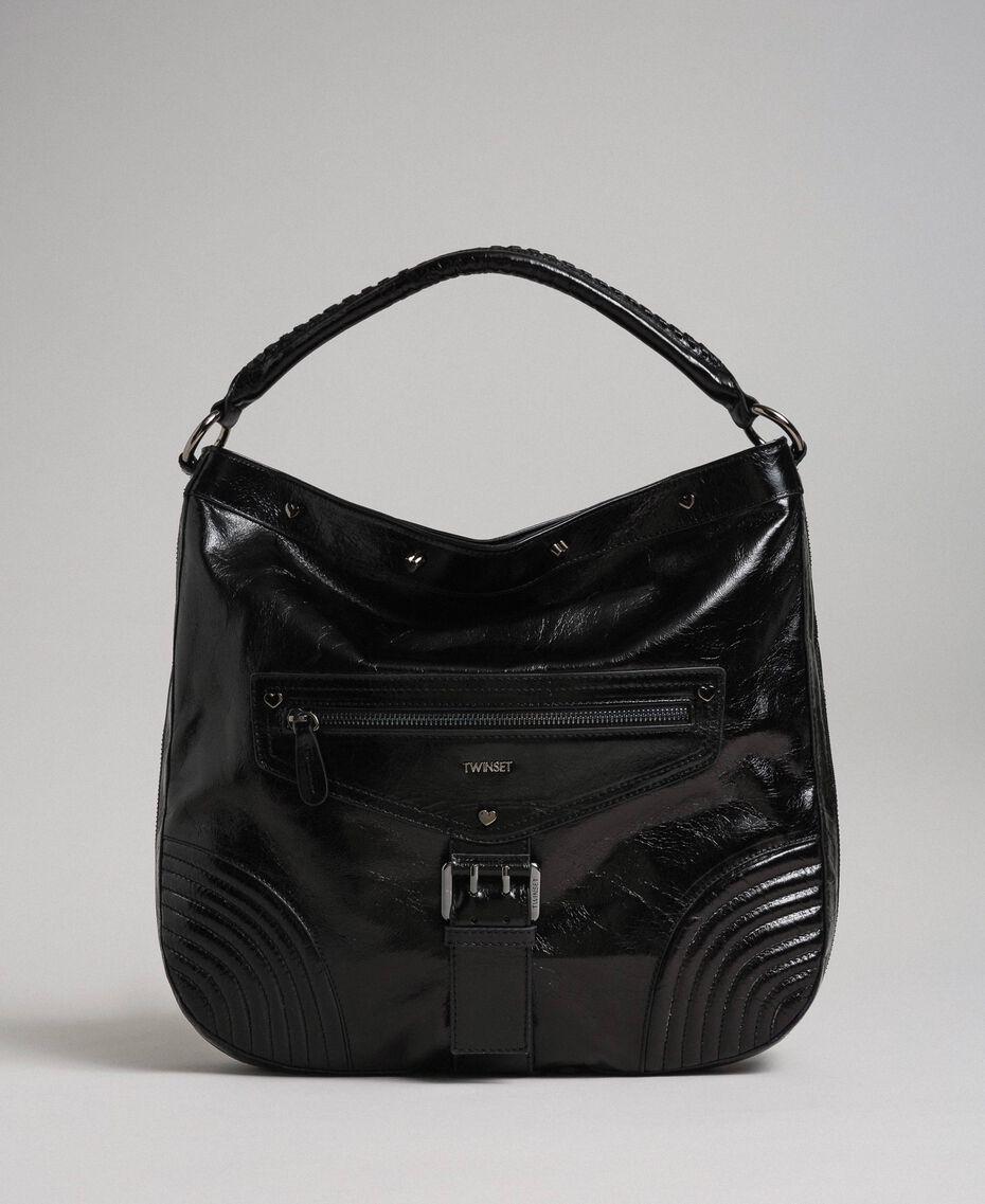 Hobo-Bag aus Leder in Craquelé-Optik mit Nieten Schwarz Frau 192TA7236-02