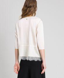 Soft satin blouse with lace flounce Black Woman 192MP2133-03