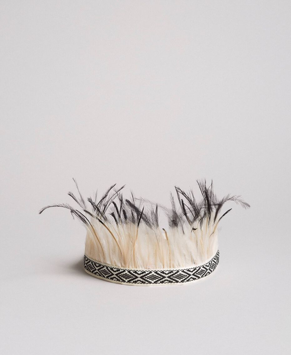 Headband-belt with feathers White / Black Woman 191TO534L-02