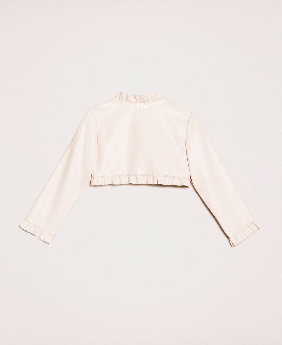 Куртка из искусственной кожи с воланами Розовый Бутон Pебенок 201GB2Q90-0S