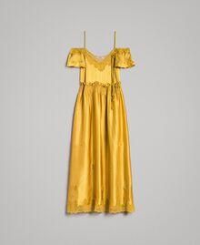 "Silk satin long dress with lace trims ""Honey Gold"" Woman 191TT2011-0S"
