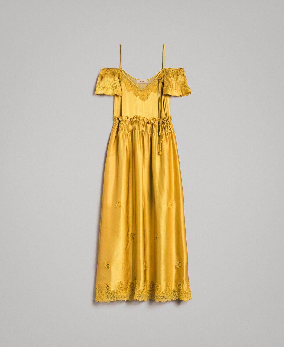 """Robe longue en satin de soie avec bordures en dentelle Or """"Miel Doré"""" Femme 191TT2011-0S"""