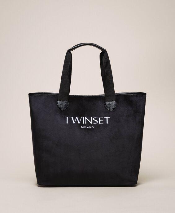 Бархатная сумка-шоппер с пошетом