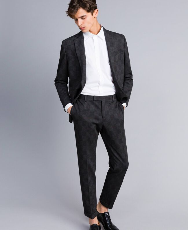 Completo giacca e pantalone stampato Stampa Quadri Grigio Melange Uomo UA82BN-01