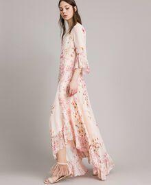 """Robe longue en georgette à motif floral Imprimé Rose """"Bouton De Rose / Peach Mix"""" Femme 191TP2718-02"""