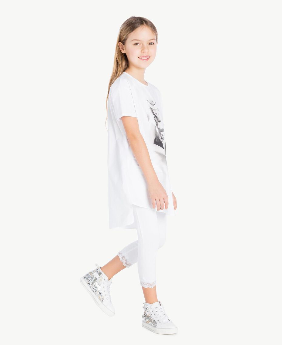 "Maxi-T-Shirt mit Print ""Papers""-Weiß Kind GS821N-03"