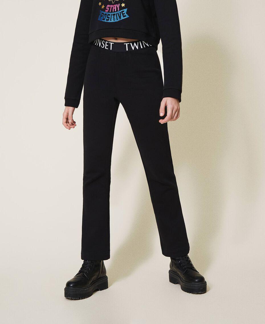 Расклешенные брюки из футера Черный Pебенок 202GJ2812-02
