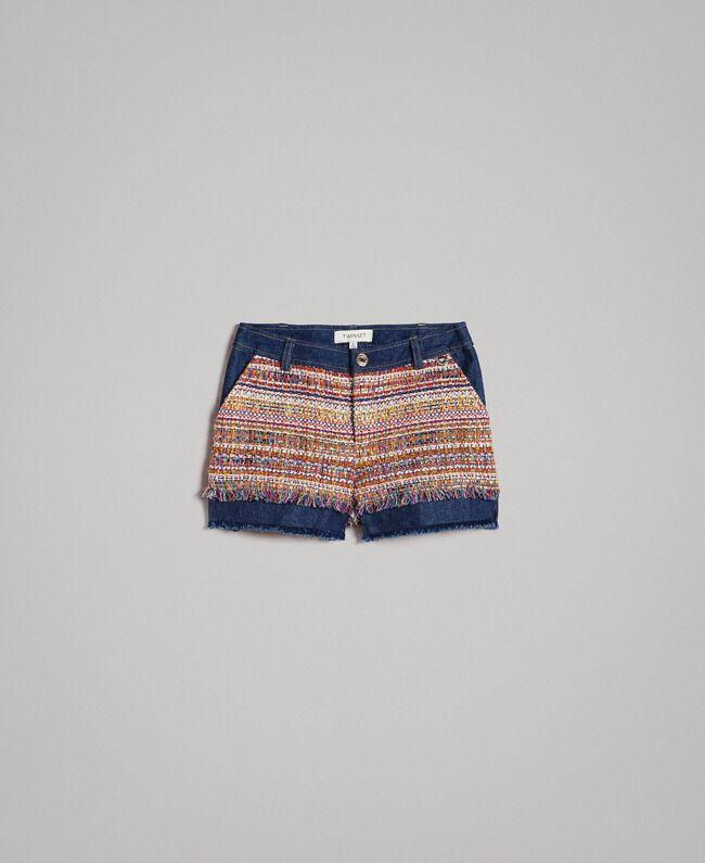 Jeans-Shorts mit Einlagen Bouclé Jacquard / Dunkler Denim Kind 191GJ2021-01