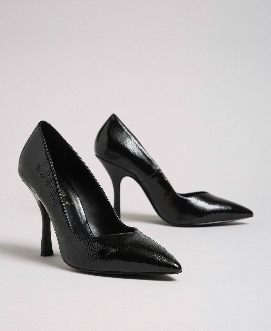 Patent leather court shoes Black Woman 192MCP038-01
