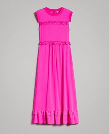 "Ruched georgette long dress ""Electric Pink"" Fuchsia Woman 191TP2323-0S"