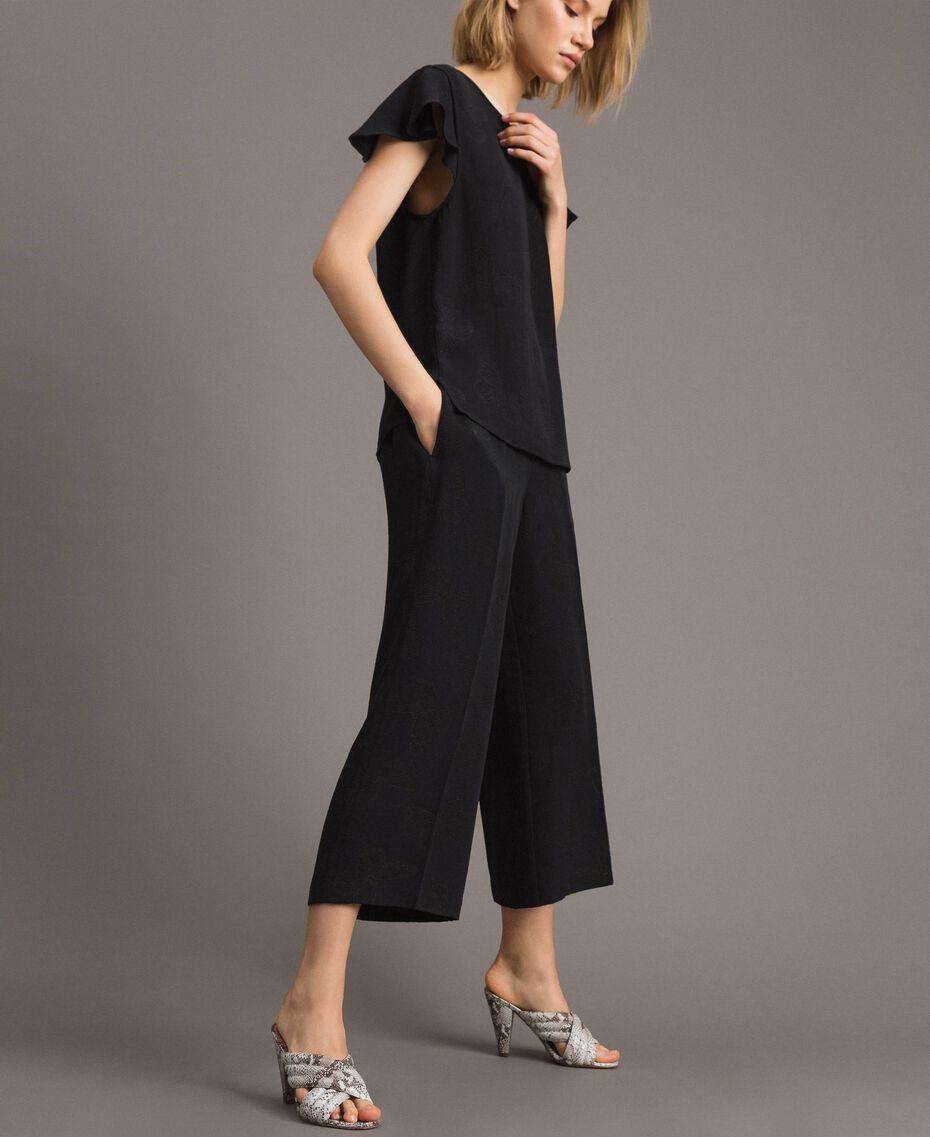 Jacquard butterfly trousers Black Woman 191TT2140-02