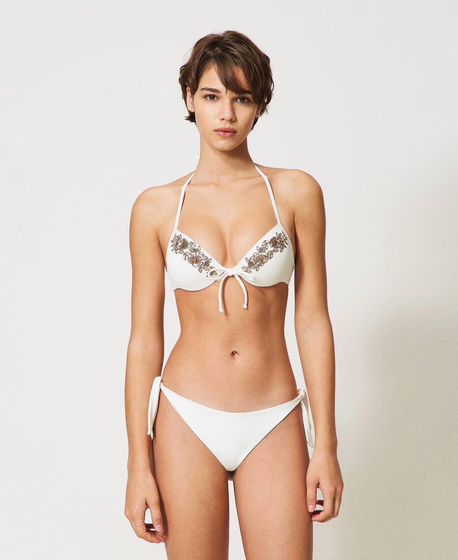 Bikinitanga mit Schleifen Elfenbein Frau 211LMM388-01