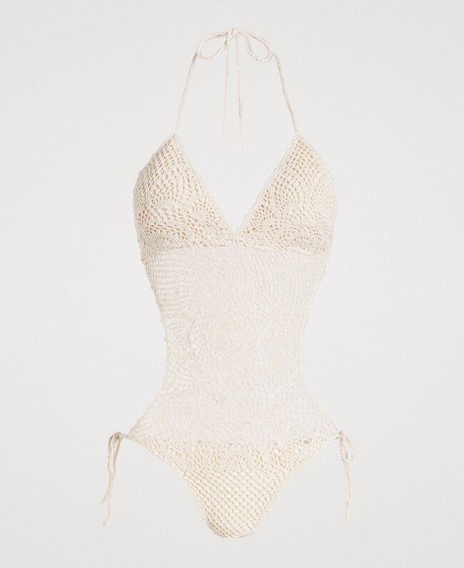 "Crochet trikini with little bows ""Milkway"" Beige Woman 191LMMNWW-01"