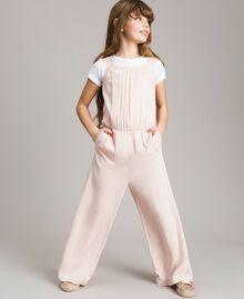 Fließender Stoff und Spitzen-Jumpsuit Blütenrosa Kind 191GJ2431-0S